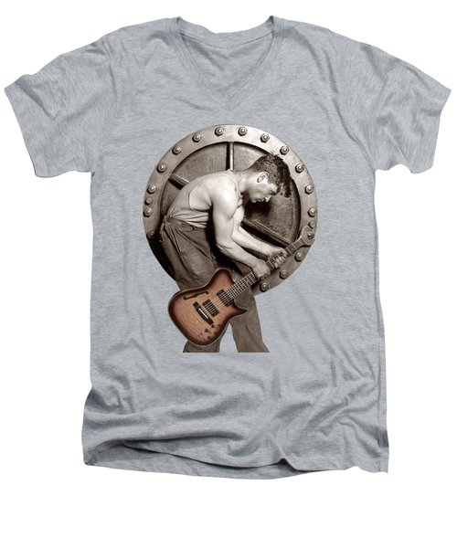 Guitar Mechanic T Shirt Men's V-Neck T-Shirt