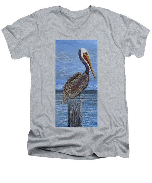 Gulf Coast Brown Pelican Men's V-Neck T-Shirt
