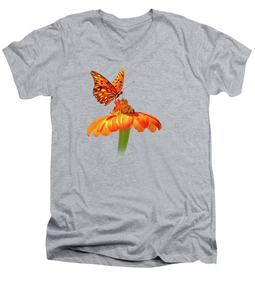 Men's V-Neck T-Shirt featuring the photograph Gulf Fritillary Landing by Mark Andrew Thomas