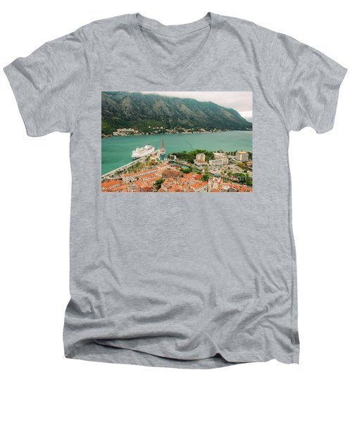 Gulf Of Kotor With Cruise Liner Men's V-Neck T-Shirt