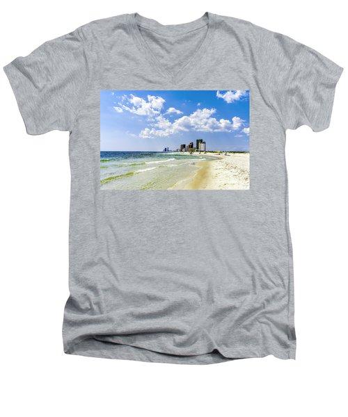 Men's V-Neck T-Shirt featuring the photograph Gulf Shores Al Beach Seascape 1746a by Ricardos Creations