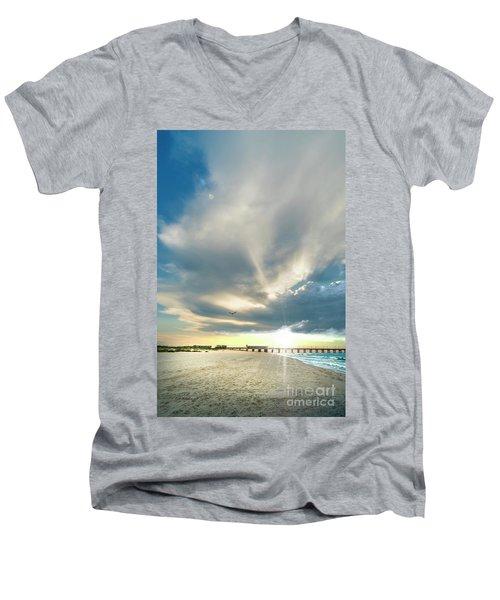 Men's V-Neck T-Shirt featuring the photograph Gulf Shores Al Pier Seascape Sunrise 152a by Ricardos Creations