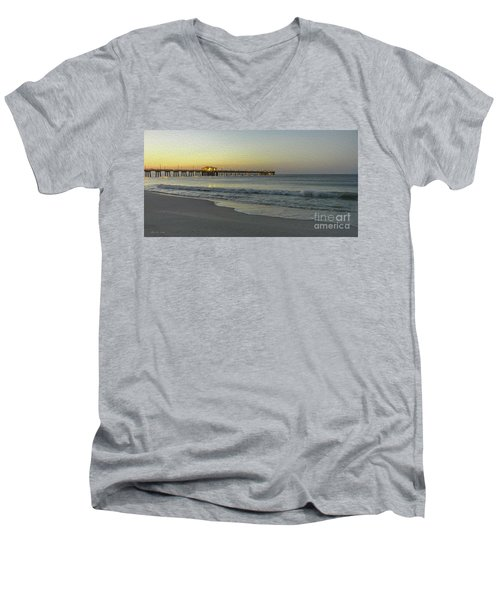 Gulf Shores Alabama Fishing Pier Digital Painting A82518 Men's V-Neck T-Shirt