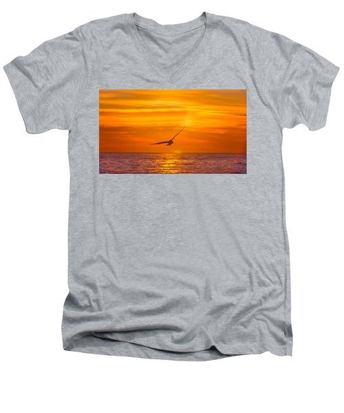 Gull At Sunrise Men's V-Neck T-Shirt