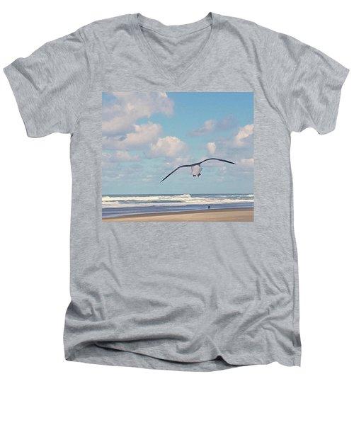 Gull Getaway Men's V-Neck T-Shirt by Suzy Piatt