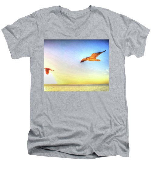 Gull In Sky Men's V-Neck T-Shirt