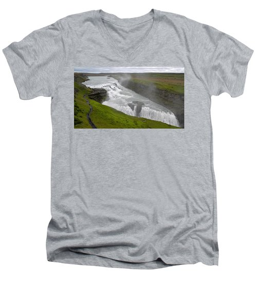 Men's V-Neck T-Shirt featuring the photograph Gullfoss Waterfall No. 2 by Joe Bonita