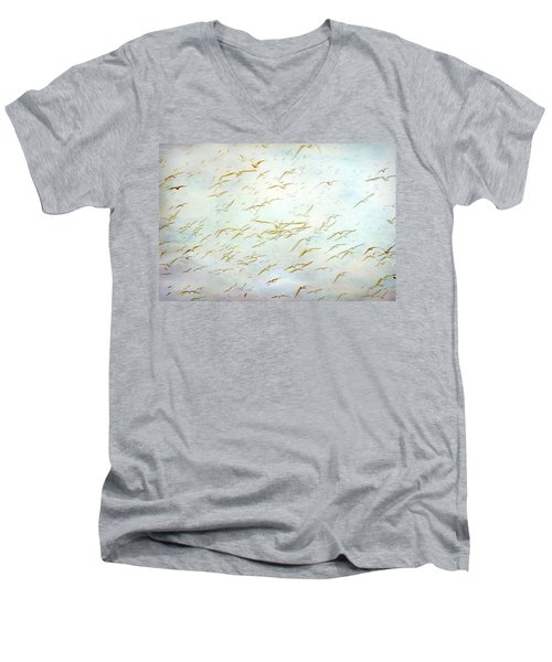 Men's V-Neck T-Shirt featuring the painting Gulls At The Beach by Peggy Collins