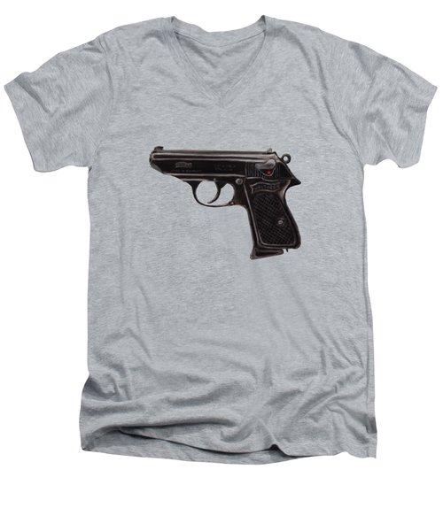 Gun - Pistol - Walther Ppk Men's V-Neck T-Shirt