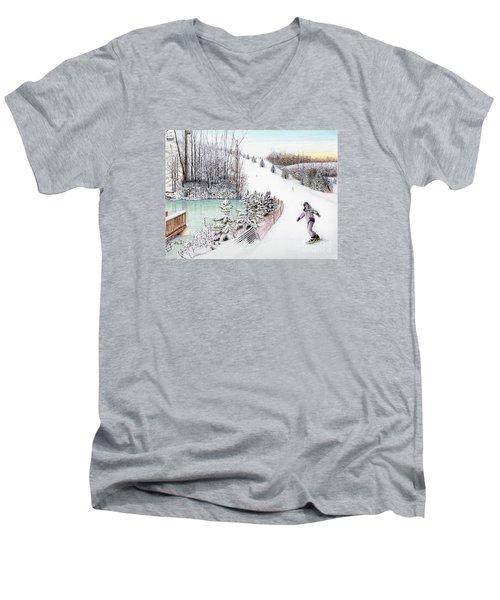 Gunnar Slope And The Ducky Pond Men's V-Neck T-Shirt by Albert Puskaric