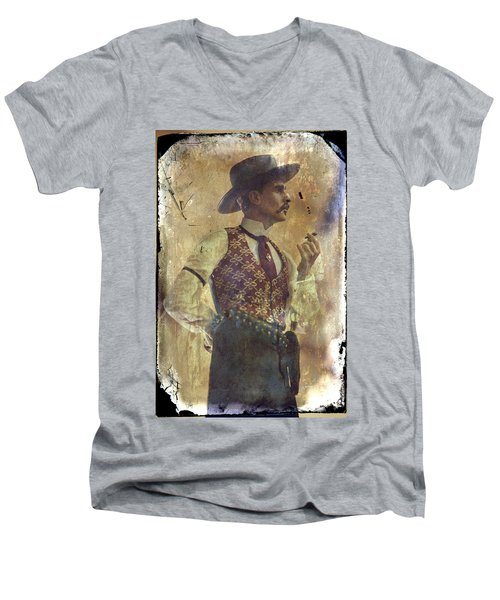 Gunslinger IIi Doc Holliday In Fine Attire Men's V-Neck T-Shirt by Toni Hopper