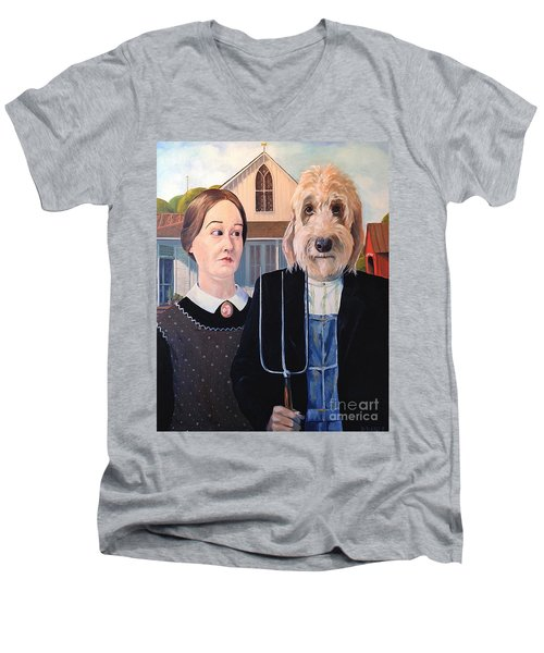 Men's V-Neck T-Shirt featuring the painting Gunther Goes Goth by Diane Daigle