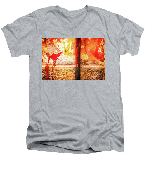 Men's V-Neck T-Shirt featuring the photograph Gutter And Decayed Wall by Silvia Ganora