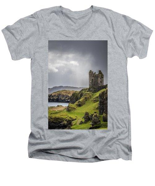 Gylen Castle On Kerrera In Scotland Men's V-Neck T-Shirt