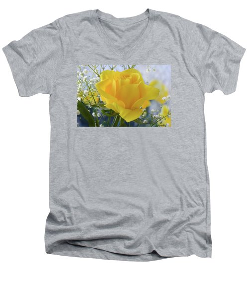 Men's V-Neck T-Shirt featuring the photograph Gypsophila And The Rose. by Terence Davis