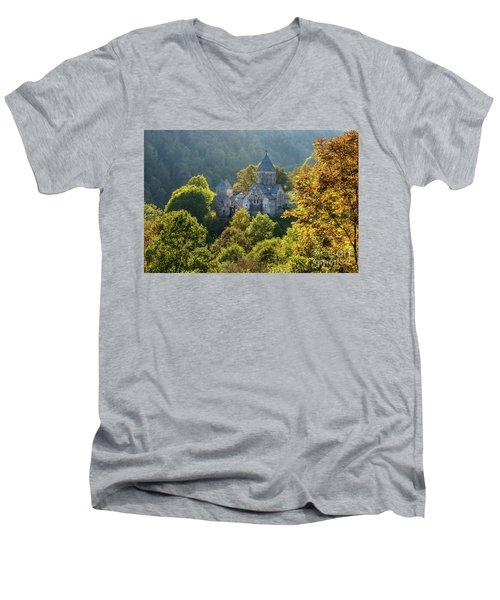 Haghartsin Monastery With Trees In Front At Autumn, Armenia Men's V-Neck T-Shirt by Gurgen Bakhshetsyan
