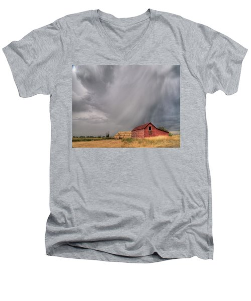 Hail Shaft And Montana Barn Men's V-Neck T-Shirt