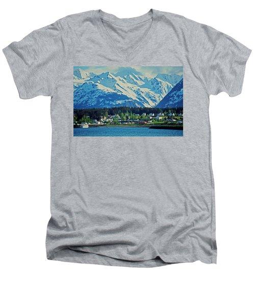 Haines - Alaska Men's V-Neck T-Shirt by Juergen Weiss