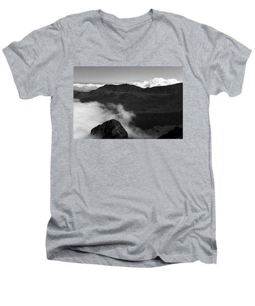 Men's V-Neck T-Shirt featuring the photograph Haleakala B/w by Jennifer Ancker