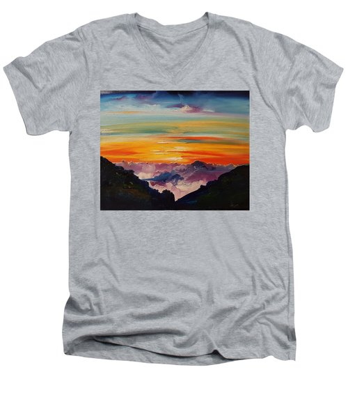 Haleakala Volcano Sunrise In Maui      101 Men's V-Neck T-Shirt