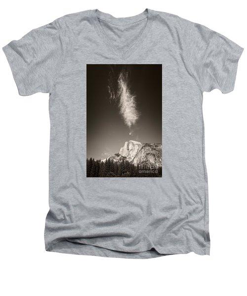 Half Dome And Cloud Men's V-Neck T-Shirt