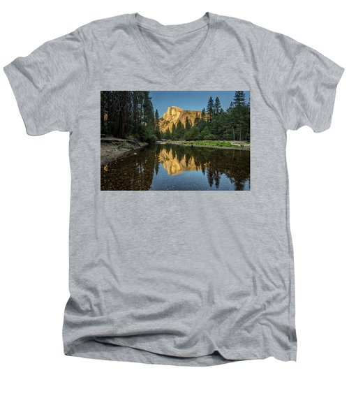 Half Dome From  The Merced Men's V-Neck T-Shirt by Peter Tellone