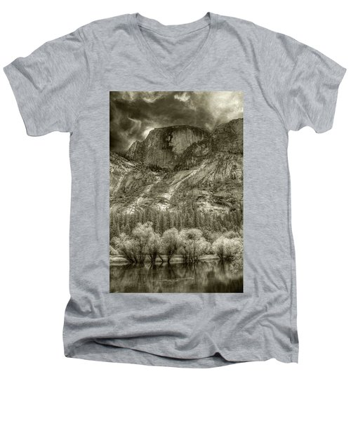 Half Dome Over Mirror Lake Men's V-Neck T-Shirt