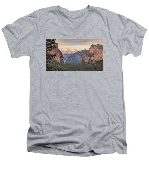 Men's V-Neck T-Shirt featuring the photograph Yosemite Sunset by Harold Rau