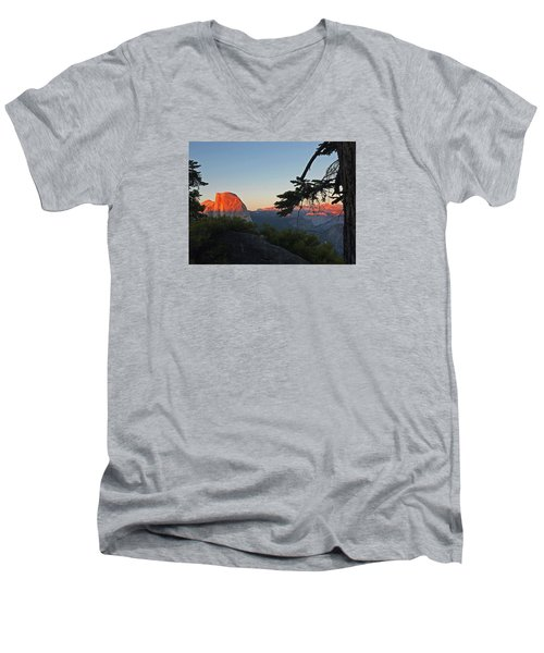 Men's V-Neck T-Shirt featuring the photograph Half Dome - Sunset On A Bright Day by Walter Fahmy