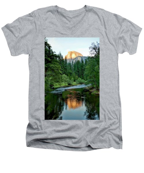Half Dome Warmed By Setting Sun Men's V-Neck T-Shirt