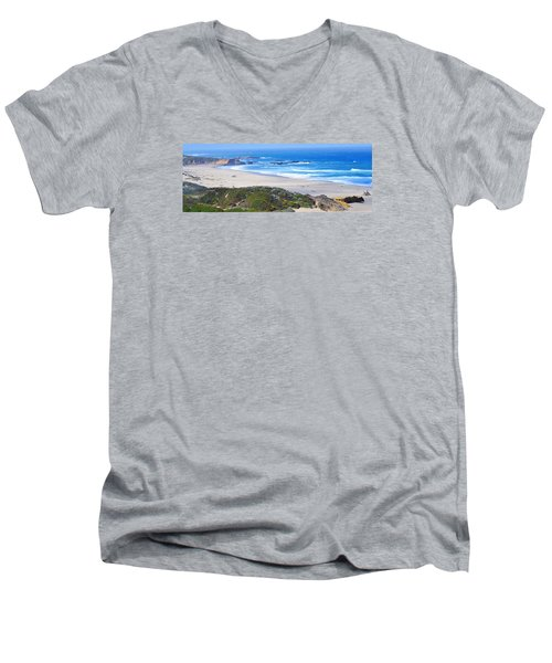 Half Moon Bay Men's V-Neck T-Shirt by Holly Blunkall