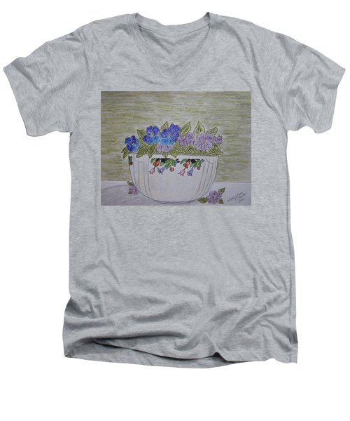 Men's V-Neck T-Shirt featuring the painting Hall China Crocus Bowl With Violets by Kathy Marrs Chandler