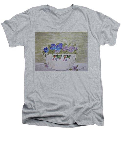 Hall China Crocus Bowl With Violets Men's V-Neck T-Shirt
