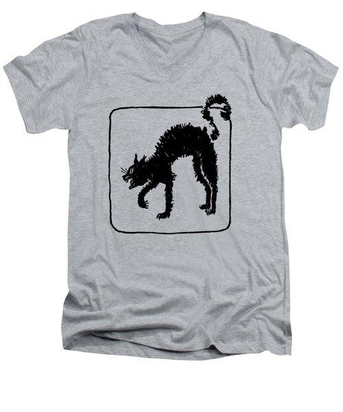 Men's V-Neck T-Shirt featuring the digital art Halloween Cat by rd Erickson