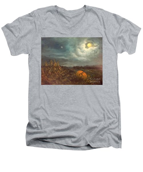 Halloween Mystery Under A Star And The Moon Men's V-Neck T-Shirt by Randy Burns