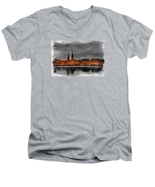 Hamburg Germany Skyline 01 Men's V-Neck T-Shirt