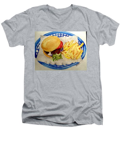 Men's V-Neck T-Shirt featuring the painting Hamburger Basket #2 by Carol Grimes