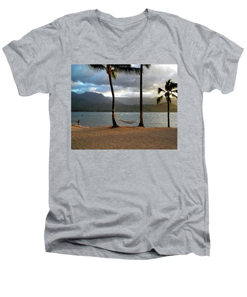 Hammock At Hanalei Bay Men's V-Neck T-Shirt