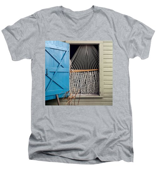 Hammock In Key West Window Men's V-Neck T-Shirt by Brent L Ander