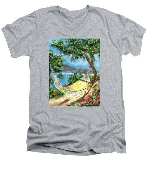 Men's V-Neck T-Shirt featuring the digital art Hammock On The Ocean by Darren Cannell