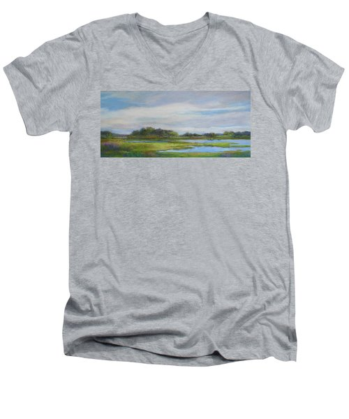 Men's V-Neck T-Shirt featuring the painting Hammonassett Sky by Vikki Bouffard