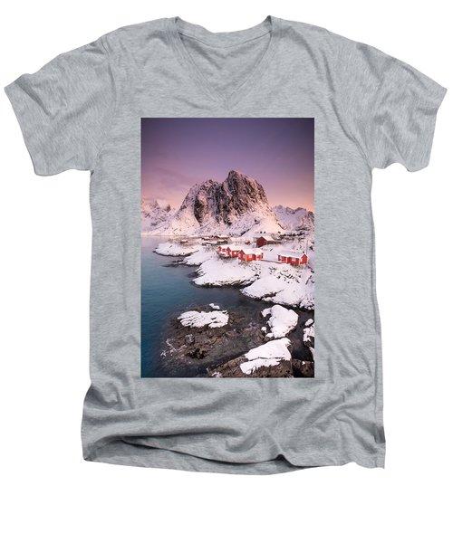 Hamnoy Men's V-Neck T-Shirt by Alex Conu