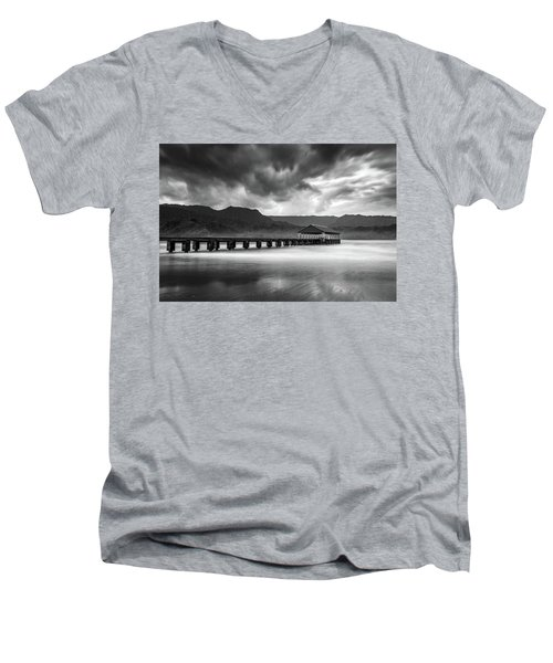 Hanalei Pier In Black And White Men's V-Neck T-Shirt
