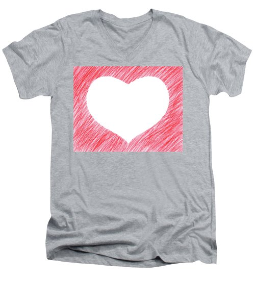 Hand-drawn Red Heart Shape Men's V-Neck T-Shirt by GoodMood Art