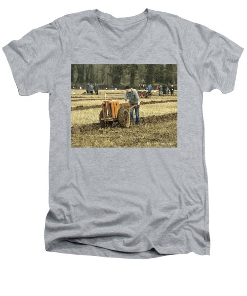 Hand Held Tractor Plough Men's V-Neck T-Shirt by Roy McPeak