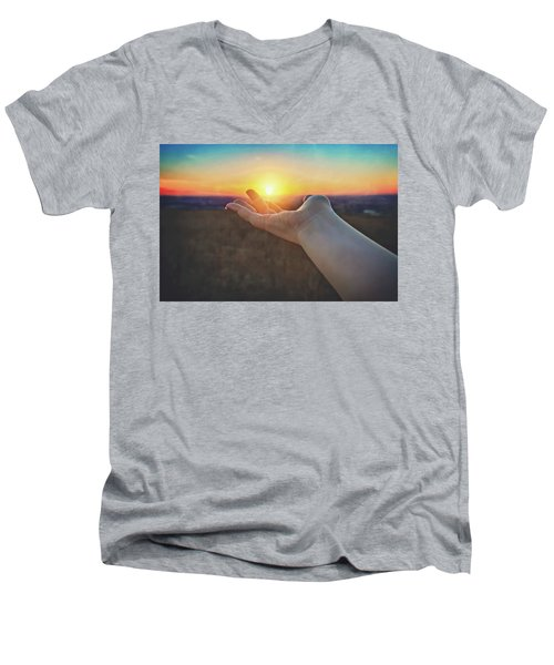 Men's V-Neck T-Shirt featuring the photograph Hand Holding Sun - Sunset At Lapham Peak - Wisconsin by Jennifer Rondinelli Reilly - Fine Art Photography