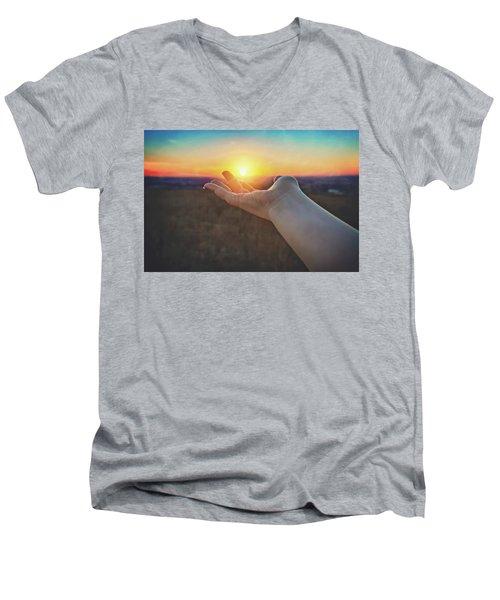 Hand Holding Sun - Sunset At Lapham Peak - Wisconsin Men's V-Neck T-Shirt by Jennifer Rondinelli Reilly - Fine Art Photography