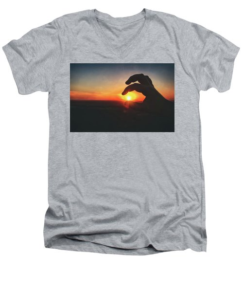 Men's V-Neck T-Shirt featuring the photograph Hand Silhouette Around Sun - Sunset At Lapham Peak - Wisconsin by Jennifer Rondinelli Reilly - Fine Art Photography