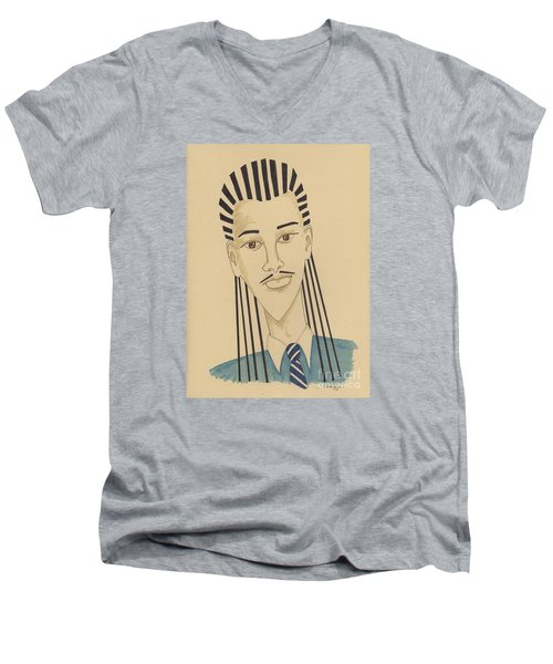 Handsome Young Man -- Stylized Portrait Of African-american Man Men's V-Neck T-Shirt