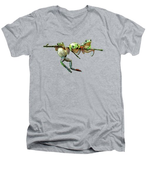 Hang In There Froggies Men's V-Neck T-Shirt by Elaine Plesser